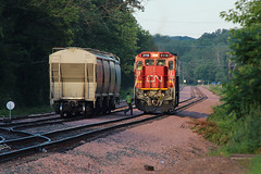 Turning East (view2share) Tags: cn2118 cn canadiannational l519 519 cn519 cnl519 poskin barronsub generalelectric ge c408 barroncounty yard wisconsin wi summer sunset sundown sunshine switch switching switches deansauvola sand sandmining fracsand frac june292019 june2019 june 2019 railway rr railroading railroads railroad rail rails railroaders rring roadtrip restoration rural rebuild rrcar freightcar freighttrain freight track transportation trains tracks transport trees travel trackage trackmaintenance train local locomotive westernwisconsin midwest