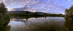 Sunrise over the Kaysville Ponds (Seskahound) Tags: sunrise iphone xr apple kaysville pond reflection wasatch mountains utah panoramic pano water cloud clouds davis usu botanical garden