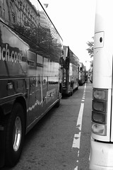 They Come Bearing Tourists (Rich Renomeron) Tags: fujifilmxt20 fujinonxf35mmf2rwr bw buses dc washington tourists
