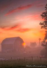 Morning Magic ... II (Ken Scott) Tags: backpage farm sunrise barn windmill fence mist fog leelanau michigan usa 2019 june summer 45thparallel hdr kenscott kenscottphotography kenscottphotographycom