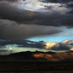 moonrise (lawatt) Tags: clevecreek full moon clouds sky landscape humboldtrange nevada film 120 portra400 hasselblad 150mm