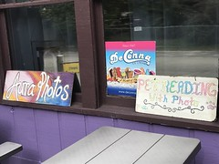 Signs in a Store Window in Cassadaga