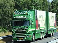 Scania R620 topline drawbar frrom van Tuijl Holland. (capelleaandenijssel) Tags: 19bjs1 pots trays cans sticks truck trailer lorry camion lkw netherlands