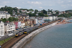Rail Activity on Dawlish Seafront (philwakely) Tags: diesel gwr fgw firstgreatwestern first greatwestern greatwesternrailway dieselmultipleunit dmu pacer class143 crosscountry voyager class220 dawlish railway railways rail trains train