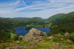Grassmere Lake, Lake District (lesleydugmore) Tags: uk england britain europe green grass water lake sky cloud rocks mountains white ble colours hues trees outside outdoor rural scenic picturesque countryside tranquil beautiful