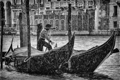 Gondola (HWHawerkamp) Tags: venice street rain raining italy water gondola boat river canal house weather struggle bw travel tourism famous