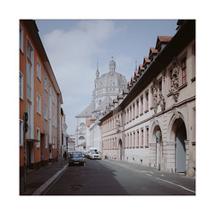 Utterly Holy (Thomas Listl) Tags: thomaslistl color square 35mm church urban stifthaug street blue sky architecture buildings vanishingpoint muted würzburg holy ngc