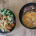 Mittagessen mit Lauchsuppe und der Green Bowl mit weißer Quinoa und Brokkoli, im Bioresrestaurant Edelgrün, Köln