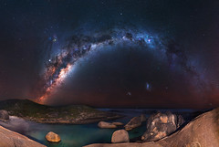 Milky Way at Elephant Rocks - Denmark, Western Australia (inefekt69) Tags: milky way elephantrocks greenspool denmark tracked ioptron skytracker cosmology southern hemisphere cosmos western australia dslr long exposure rural night photography nikon stars astronomy space galaxy astrophotography outdoor core great rift 35mm d5500 panorama stitched mosaic nature landscape msice sky sea ocean granite magellanic clouds large small cloud