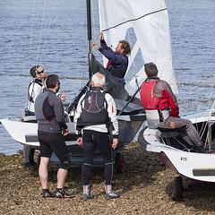 Preparing For Racing (Geoff France) Tags: dinghy sailingdinghy yacht regatte findhorn findhornregatta sea bay sand water shore mast boom sail halyard sheet
