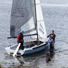 Its In The Water (Geoff France) Tags: dinghy sailingdinghy yacht regatte findhorn findhornregatta sea bay sand water shore mast boom sail halyard sheet