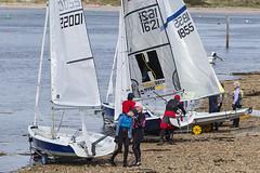 Launch Preparations (Geoff France) Tags: dinghy sailingdinghy yacht regatte findhorn findhornregatta sea bay sand water shore mast boom sail halyard sheet