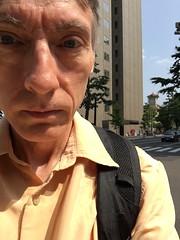 Is it me or is muggy here? (sjrankin) Tags: 10july2019 hokkaido japan sapporo downtown buildings family me selfportrait tokeidai clocktower muggy sunny