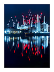 Battersea Blues (and red) (Dave Fieldhouse Photography) Tags: battersea batterseapowerstation development construction building site crane towercrane nighttime night dark lights illumination beacon chimney river riverthames water reflections reflection wwwdavefieldhousephotographycom fujixt2 fujifilm fuji london england uk urban urbanlandscape cityscape