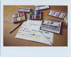 trying colors (breeze.kaze) Tags: instant film fujiinstaxwidefilm mintinstantkonrf70 tatami watercolors brushes pastels