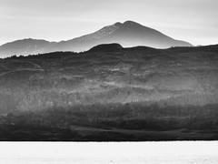 In the Highlands.. (Julie Rutherford1 ( off/on )) Tags: sea white mist black mountains forest scotland highlands julie argyll rutherford forestry