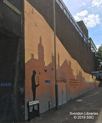 2019: Mural at the Wyvern Theatre, Regent Place, Swindon (Local Studies, Swindon Central Library) Tags: 2019 2010s colour sbc swindon wiltshire wyvern wyverntheatre regentplace publicart art mural skyline