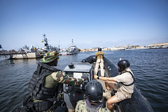Senegalese, Portuguese, Spanish and U.S. service members conduct small boat exercises in the Gulf of Guinea