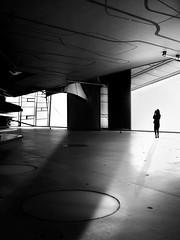 room with a view (heinzkren) Tags: schwarzweis blackandwhite biancoetnero noiretblanc canon indoor architecture architektur composing urban vienna wien austria human shadow silhouette light magic mystery design powershot woman lady surreal abstract temporary modern