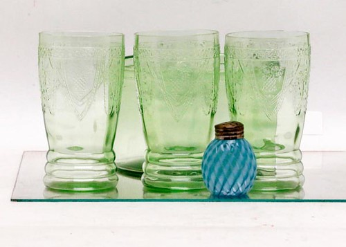 "Depression Glass 3-piece Love Birds 5.25"" tumblers ($168.00)"