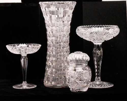 Cut Glass Brilliant Vase pictured in back ($364.00)