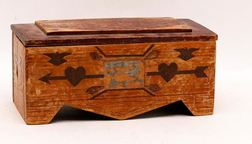 Dynamite crate-tramp art doll dresser with hearts & inlay ($156.80)
