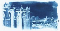Cianotip negatiu / Negative cyanotype (SBA73) Tags: carcassona carcassonne aude frança occitania oc france gothic gotic apse cathedral duomo basilica saintnazaire castell castle blau azul bleu blue azzurro cianotip cyan cyanotype alternative techniques trial negative