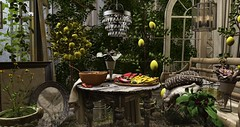 Fruits of Summer.... (kellytopaz) Tags: second life nutmeg kraftwork belle events virtual living deco decorate garden lemon tree urn roses bench lantern