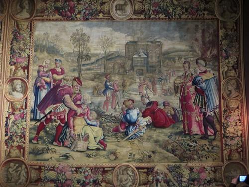 """""""Décembre"""", tapisserie des Mois de Lucas (Manufacture des Golelins, Paris, XVIIe), château royal de Pau, Béarn, Pyrénées-Atlantiques, Nouvelle-Aquitaine, Franc"""