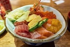 Mixed Sashimi Rice Bowl (Kaisendon) (Macro Cosmos Microscopy) Tags: japanese cusine fast food donburi sashimi sushi rice salmon prawn shrimp octopus uni roe ikura sea urchin radish wasabi suzhou china jiangsu