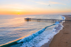 Balboa Beach Pier (meeyak) Tags: newportbeach pier orangecounty california beach usa ocean waves sunset aerial flying drone drones djimavicpro mavic2 mikemarshall landscape seascape nature outdoors summer adventure travel