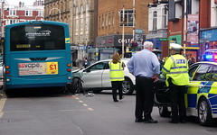 Car versus bus (* RICHARD M (Over 9.5 MILLION VIEWS)) Tags: street candid accident crash collision cops copcar police policeman merseysidepolice trafficpolice trafficcop cars bus arriva arrivabus vehicles traffic firstresponders emergencyservices transport publictransport eastbankstreet southport sefton merseyside urban commotion rtc uhoh ouch wrecked hivis hiviz bluelights argh smash wreck