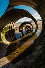 Peeled (subterraneancarsickblues) Tags: lancashire cleveleys coast beach seaside marysshell sculpture wide wideangle gold yellow canon 6d eos6d 1635mm f4l lseries fylde