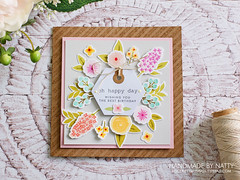 Oh happy day - 2019-07-10 (Handmade by Natty) Tags: cardmaking cardmaking2019 wplus9freshcutflorals memoryboxspringtimetypewritersentiments simonsaysstamptinywordsbirthday simonsaysstampdiagonalstripes