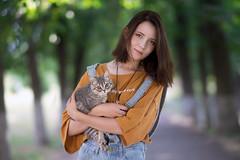Darina (tromanph) Tags: girl beautiful nature summer beautifulgirl park cat kitten pretty
