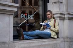 PURE (Silver Machine) Tags: london streetphotography street candid outdoor girl sitting reading reflection window stare fujifilm fujifilmxt3 fujinonxf35mmf2rwr