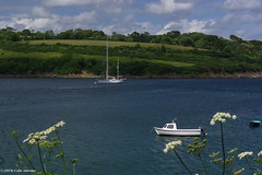 3KB14953a_C (Kernowfile) Tags: smcpentaxda18135mmf3556edalifdcwr cornwall cornish pentax helfordriver river water boat reflections rocks trees bushes hills slope sky reflectedsunlight sunlight yacht grass