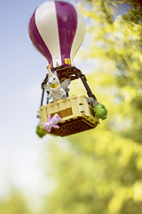 """""""If you worry about disaster all the time, that's what you're going to get.""""  Chuck Palahniuk (Shelly Corbett Photography) Tags: hotairballoon lego toyphotography toys unicorn imagination lensbaby disaster bokeh spring"""