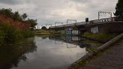 Virgin Train, Wolverhampton Canal (rq uk) Tags: rquk nikon d750 wolverhampton canal clouds industrial nikond750 afsnikkor1835mmf3545ged reflections