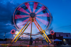 In the spin of a spinning wheel (sniggie) Tags: caseysridesinc ferriswheel marioncounty marioncountyfair marioncountyfairgrounds amusementride bluehour countyfair fairgrounds twilight