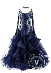 Navy Blue Foxtrot Waltz Standard Competition Dance Dress (Venus Dancewear) Tags: ballroomdress ballroomdancedress latindress dancewear ballroom competition dress venus dresses dance