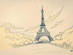 Eiffel Tower (Ephraim Fowler) Tags: ephraimfowler eiffeltower paris italy fade fadeart trees nature art drawing landscape