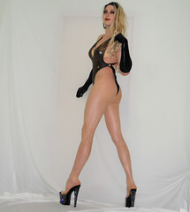 Skimpy suit (queen.catch) Tags: legsfordays hotlegs hosiery longlegs dragqueen catchqueenyoutube gloves heels nylonlegs pantyhose pleasers bathingsuit ladyboy crossdresser lgbt wig feminization