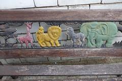 8th July 2019 (themostinept) Tags: 37newingtongreen belleepoquepatisserie garden bench animals metal wood paint wall brickwall london n16 islington