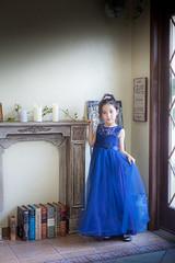 Tori by window (kellypettit) Tags: daughter portrait model childmodel eurasian japan photoshoot princess dress blue