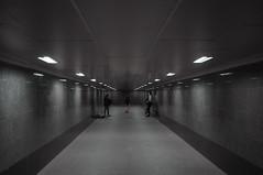 DSCF4836 (Mike Pechyonkin) Tags: 2019 moscow москва night ночь man мужчина lamp фонарь underground walkway подземный переход reflection отражение