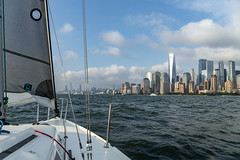 Manhattan from the Bow of a Sailboat (bcpearce0) Tags: nyc urban manhattan sailing newyorkcity water cityscape skyscraper skyline sailboat newyork