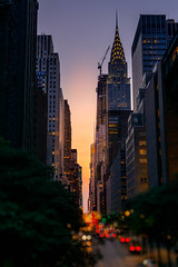 42nd Street at Sunset (bcpearce0) Tags: nyc urban bokeh manhattan midtown chryslerbuilding newyorkcity 42ndstreet night cityscape sunset skyline skyscraper newyork