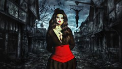 """ Shadow Mistress "" (maka_kagesl) Tags: secondlife sl second life game gaming games virtual videogame videogames portrait photography photo picture pic ps photoshop green screen greenscreen dark horror creepy scared scary shadow"
