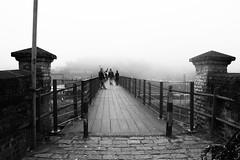 Footbridge (fernandonogueira3) Tags: brazil saopaulo urban bridge blackwhite blackandwhite street streetphotography city mist person people perspective old